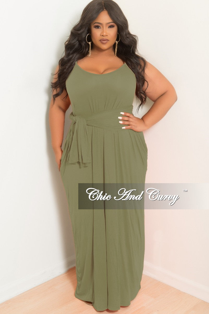 New Plus Size Spaghetti Strap Long Dress with Matching Head Wrap in Olive