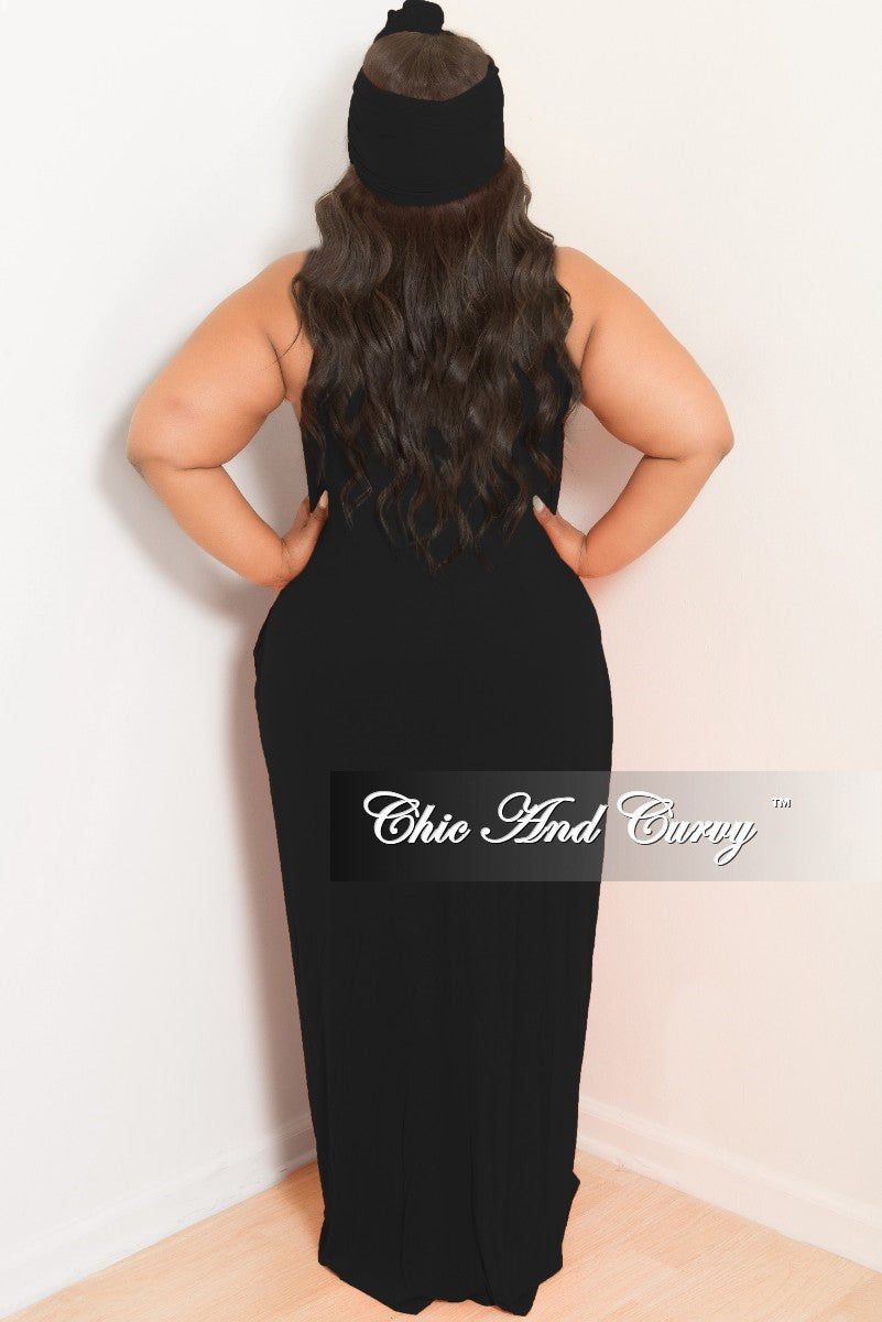 New Plus Size Spaghetti Strap Long Dress with Matching Head Wrap in Black