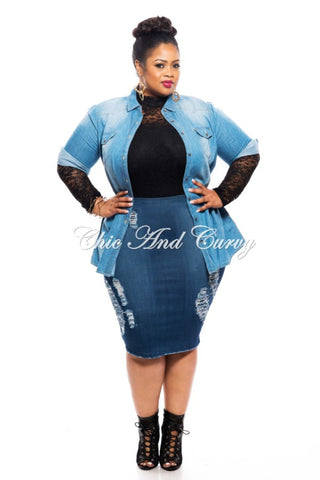 New Plus Size Shirt in Light Denim Acid Wash with 3/4 Sleeves