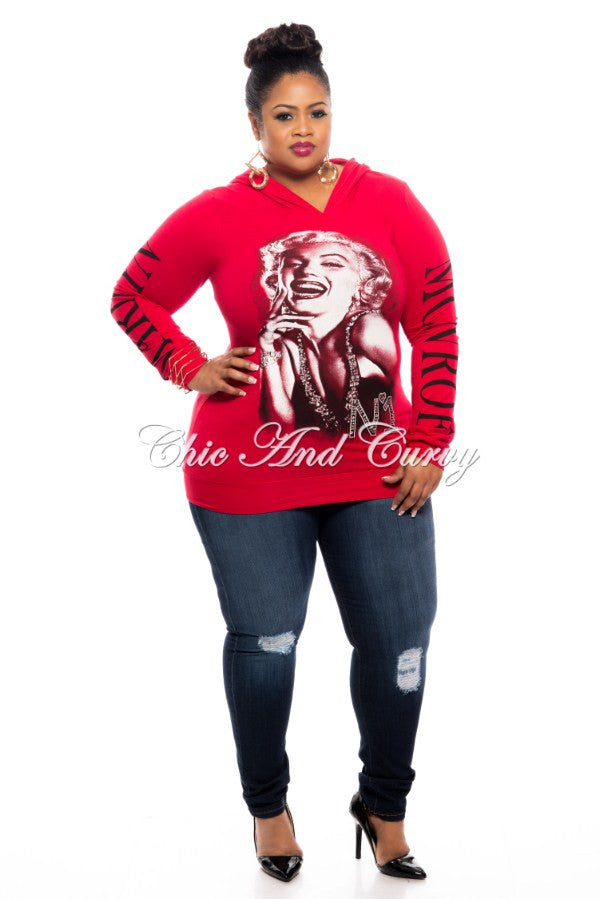New Plus Size Marilyn Monroe Hooded Shirt - Laughter in Red