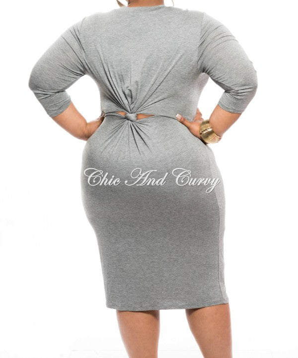 New Plus Size BodyCon with Knotted Open Back and Marilyn Face in Grey