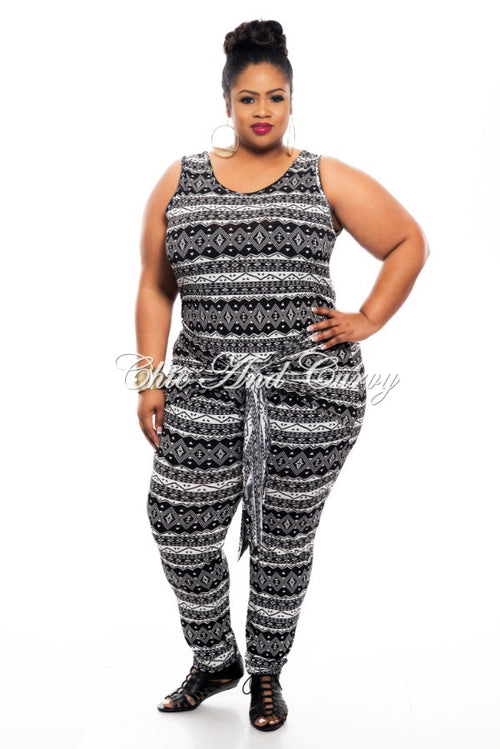 New Plus Size Jumpsuit with Attached Tie in Black and White Print