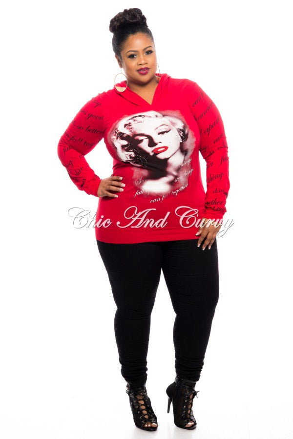 New Plus Size Marilyn Monroe Hooded Shirt - Seductive in Red