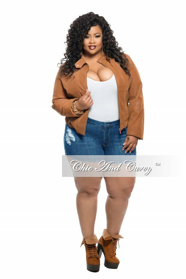New Plus Size Motorcycle Jacket in Caramel