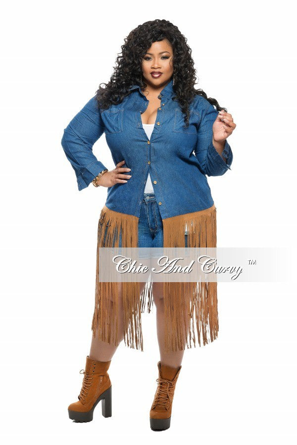 New Plus Size Denim Jacket with Fringe