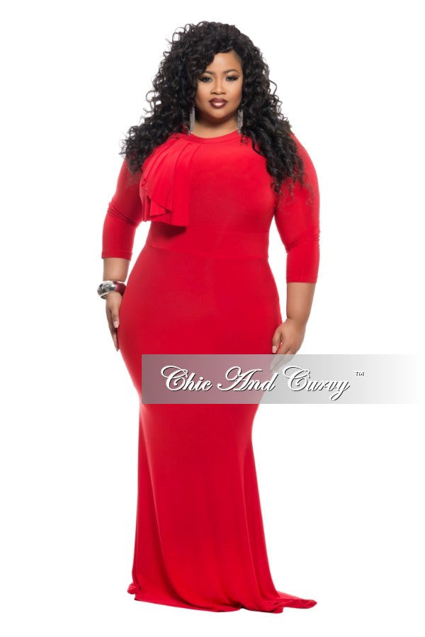 New Plus Size BodyCon Long Dress with Collar Ruffle in Red