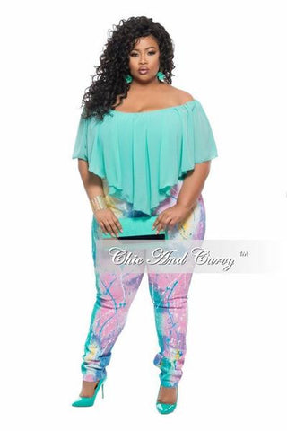 New Plus Size Denim Jeans in Paint Splash Print - Pink, Yellow and Blue