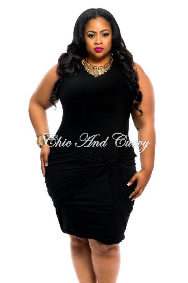 New Plus Size BodyCon Sleeveless with Knotted Front in Black