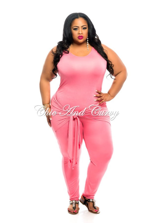 New Plus Size Jumpsuit with Attached Tie in Coral Pink