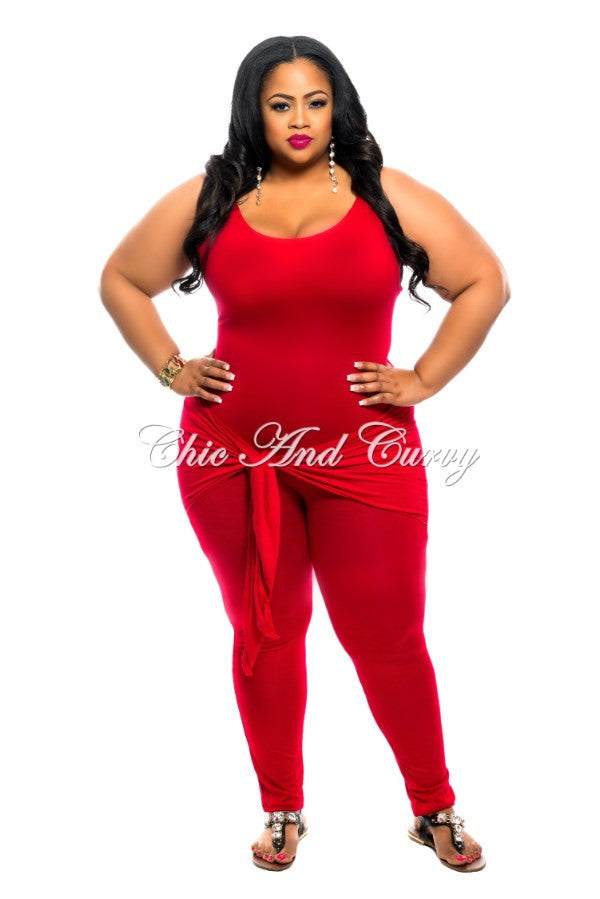 New Plus SizeJumpsuit with Attached Tie in Red