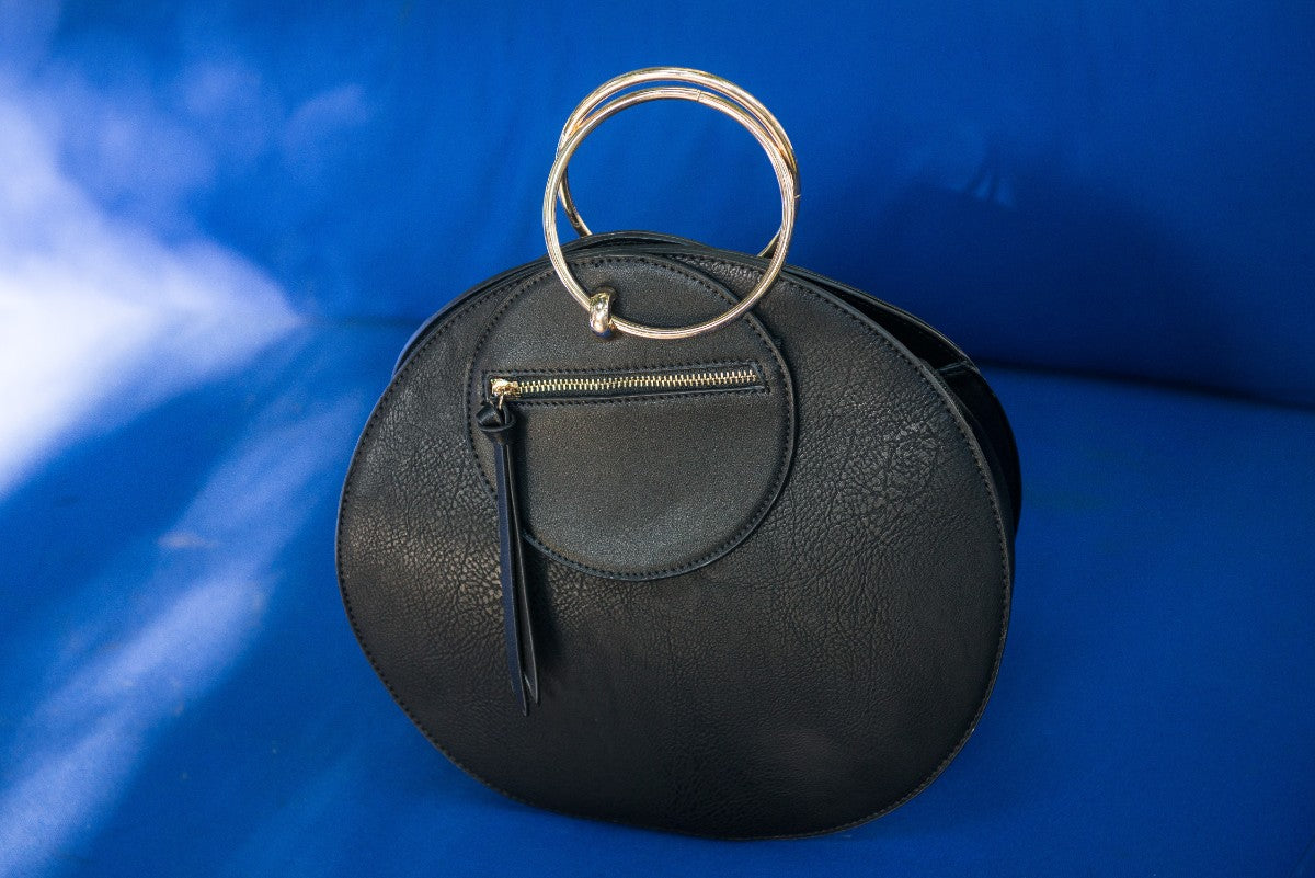 Final Sale Circle Shaped Leather Purse with Gold Handle and Front Zipper in Black