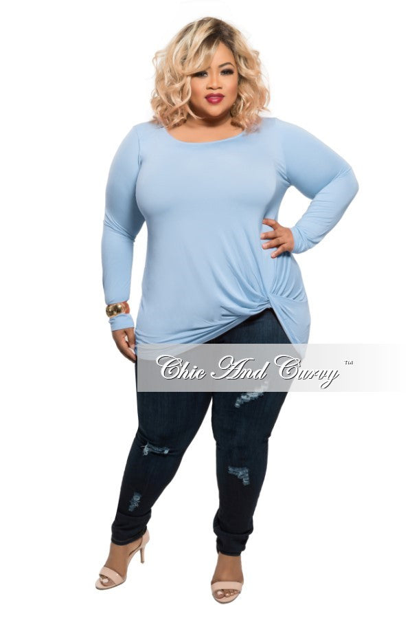 New Plus Size Long Sleeve Top with Knotted Front in Ice Blue