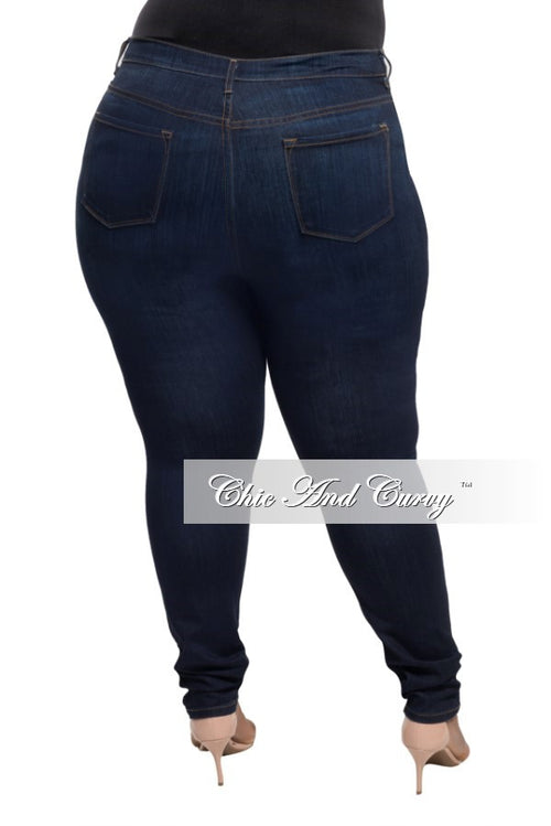 New Plus Size Ripped Jeans in Dark Denim