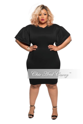 New Plus Size BodyCon with Bell Shoulder in Black