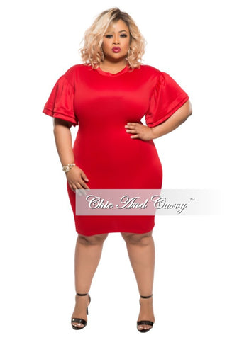 New Plus Size BodyCon with Bell Shoulder in Red