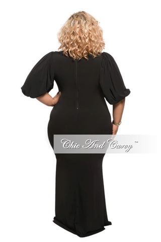 New Plus Size BodyCon Long Dress with Puffy Shoulders in Black