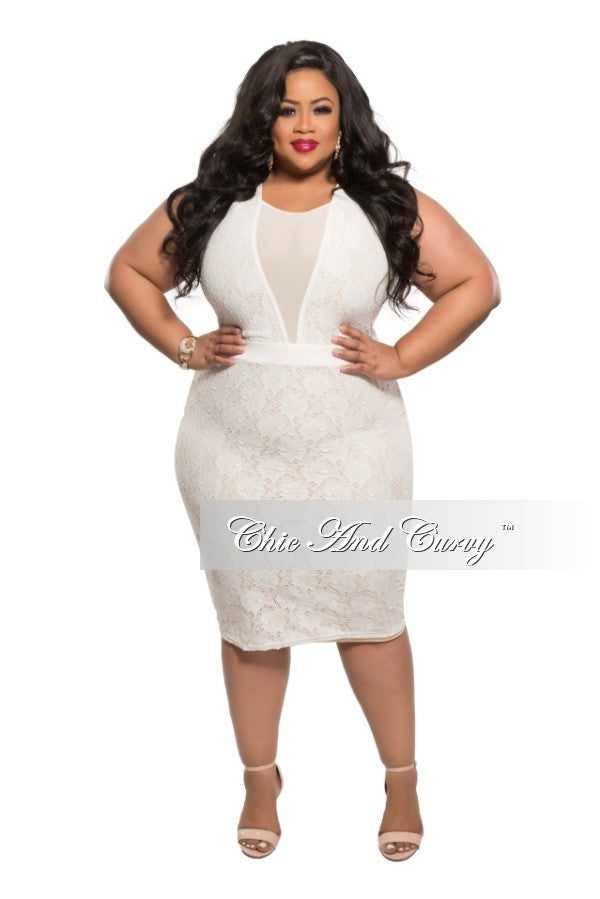 Final Sale Plus Size Bodycon Dress With Mesh V Neck In Off White