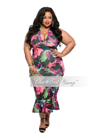 New Plus Size Bodycon Dress with Deep V-Neck and Ruffle Bottom in Black, Purple, Pink, Green and Blue Floral Print