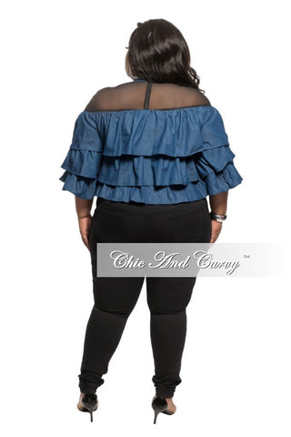 New Plus Size Dark Denim Ruffle Top with Black Sheer