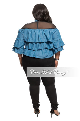 New Plus Size Light Denim Ruffle Top with Black Sheer