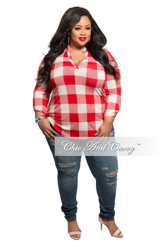 New Plus Size Top with Button Front and Collar in Red and Black Plaid