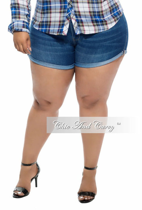 New Plus Size Dark Denim Shorts