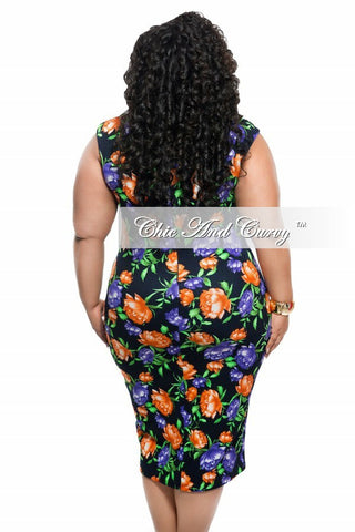 New Plus Size BodyCon Sleeveless Dress in Black, Purple, and Orange Floral Print