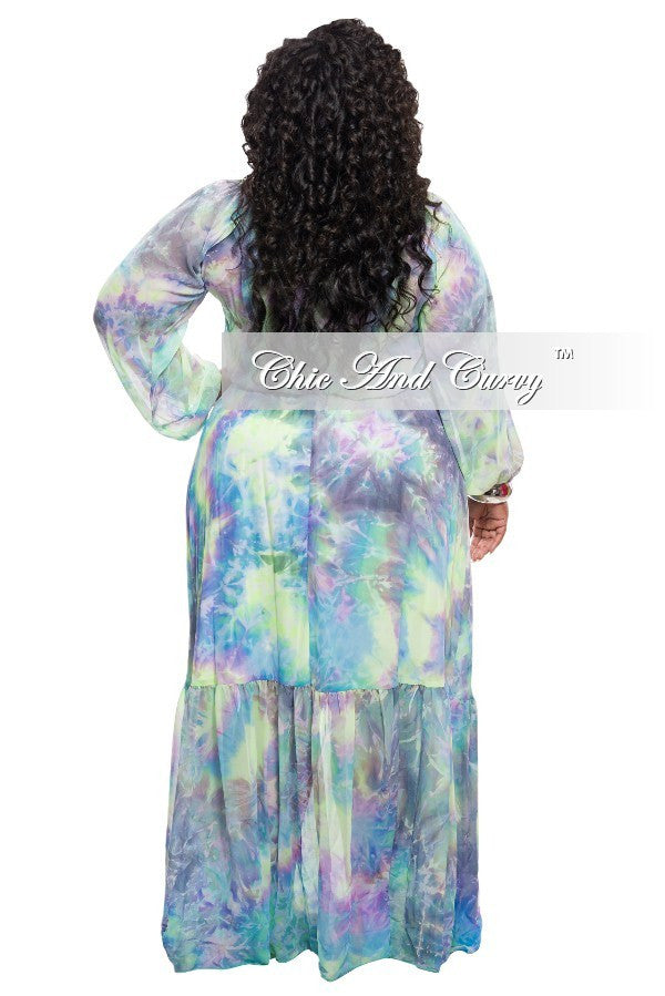 Final Sale Plus Size Chiffon Dress in Purple, Blue, and Light Green