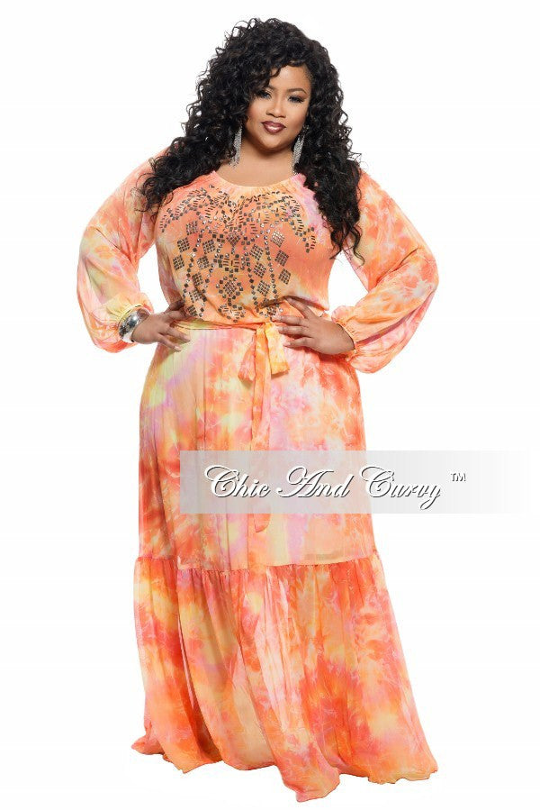 Final Sale Plus Size Chiffon Dress in Orange, Yellow, and Pink
