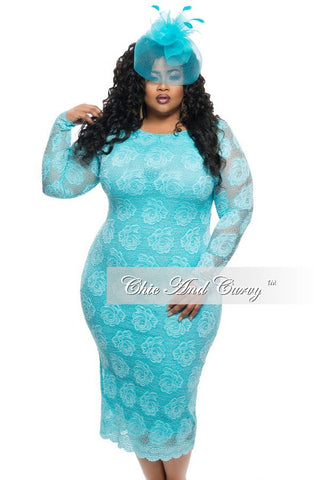 New Plus Size BodyCon Lace Dress in Light Blue or White
