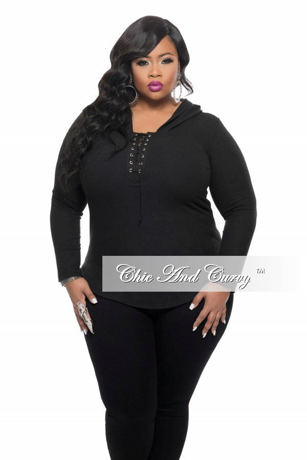 New Plus Size Lace Up Top with Long Sleeves in Black