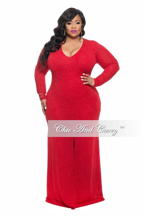 Final Sale Plus Size BodyCon Gown in with Front Slit in Red Glitter (Seasonal)