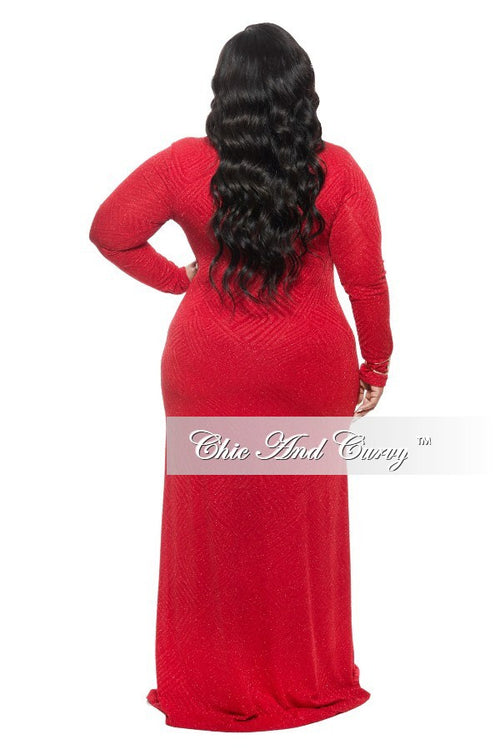 New Plus Size BodyCon Gown with Front Slit in Red