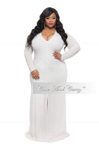 Final Sale Plus Size BodyCon Gown with Front Slit in Off White