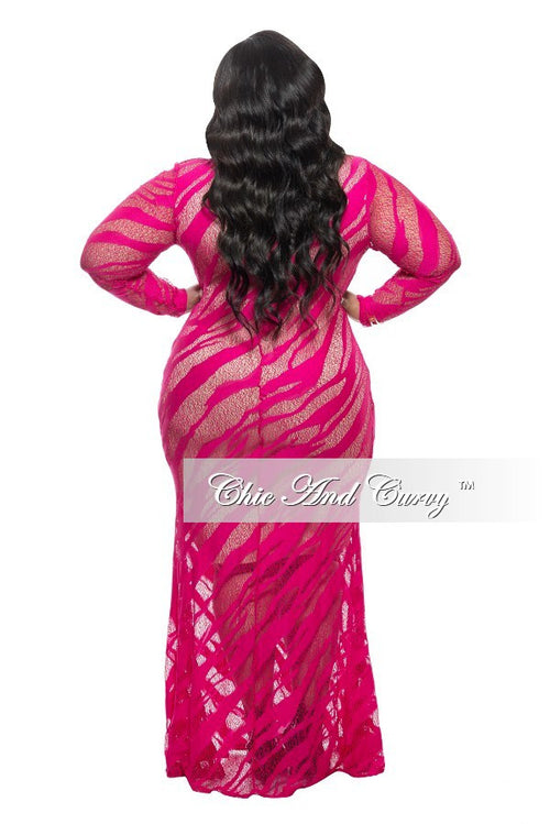 New Plus Size Long Lace Dress in Hot Pink