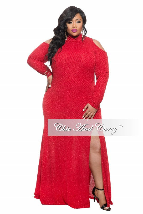 Final Sale  Plus Size BodyCon Gown with Open Shoulders and Slit in Red Glitter