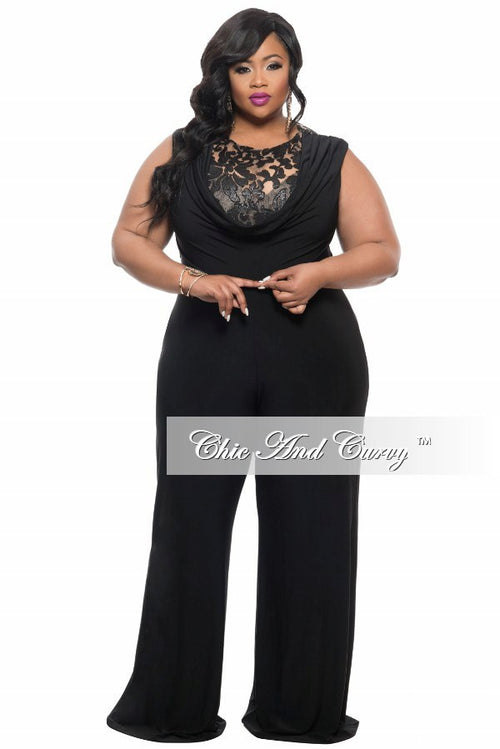 Final Sale  Plus Size Jumpsuit with Sequin Detailed Top in Black