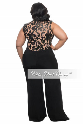 New Plus Size Jumpsuit with Sequin Detailed Top in Black