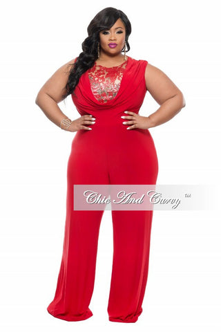 New Plus Size Jumpsuit with Sequin Detailed Top in Red