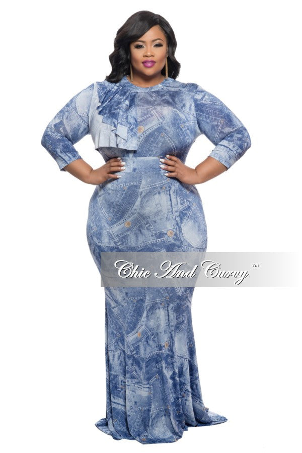 New Plus Size BodyCon Long Dress with Collar Ruffle in Denim Print