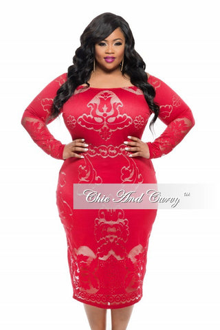 New Plus Size BodyCon Off the Shoulder Dress with Detailed Design in Red