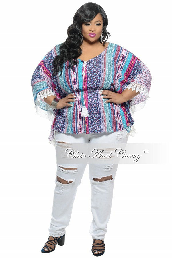 New Plus Size Top with Lace Sleeve Detail in Multi Color Print