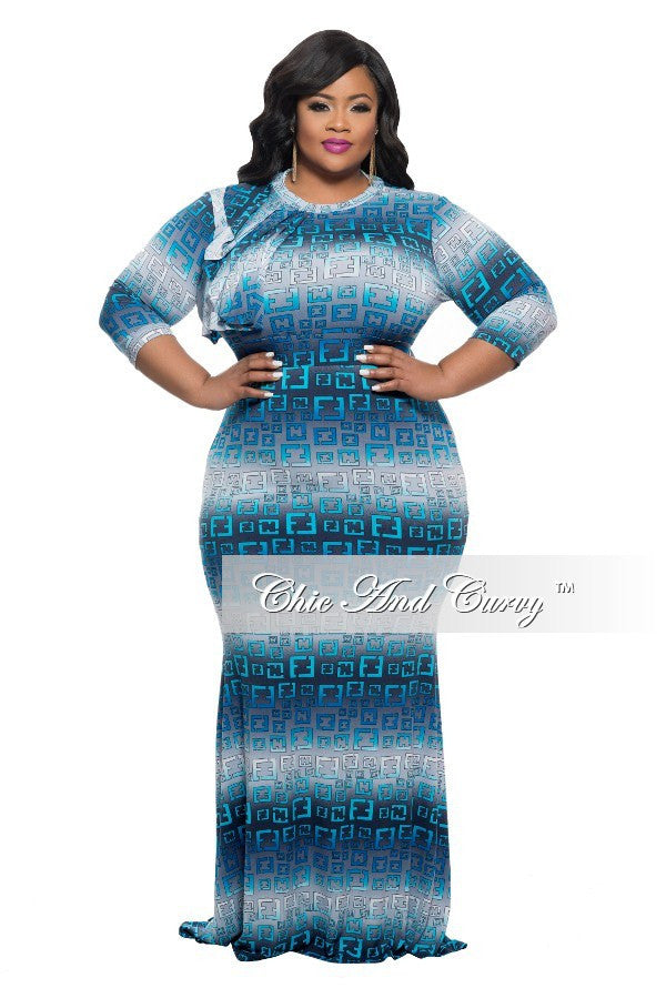 New Plus Size BodyCon Long Dress with Collar Ruffle in Grey and Light Blue Mixed Print