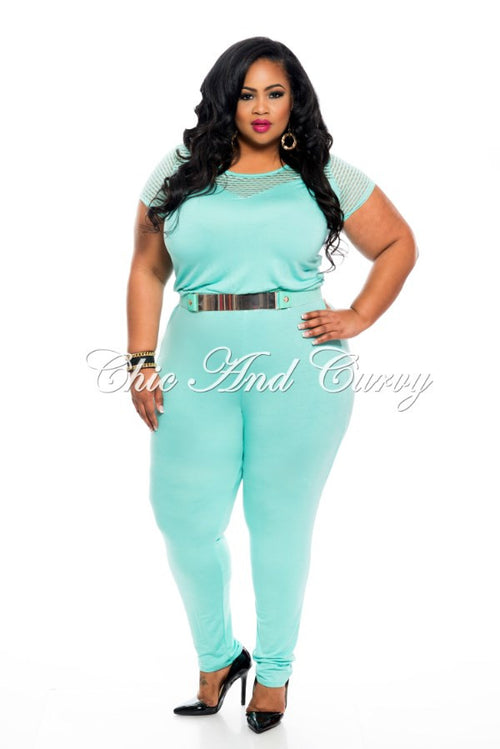 Final Sale Plus Size Jumpsuit with Fitted Leg and Net Short Sleeves in Mint