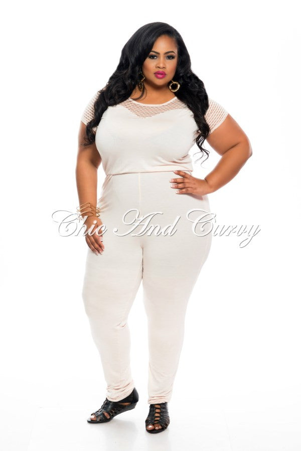 FINAL SALE Plus Size Jumpsuit with Fitted Leg and Net Short Sleeves in Blush