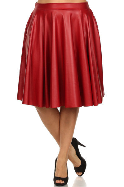 Final Sale  Plus Size Faux Leather Mid-Length Skater Skirt in Red