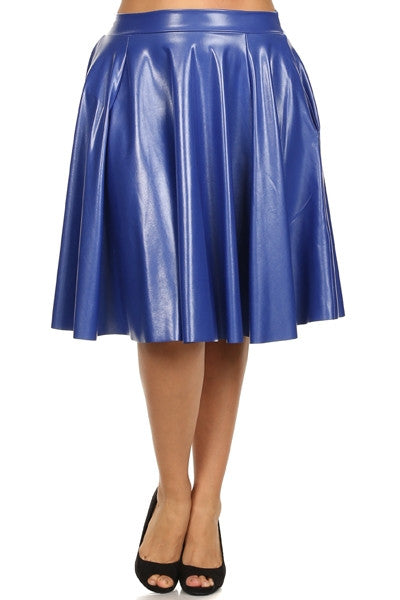 New Plus Size Liquid Mid-Length Skater Skirt in Blue