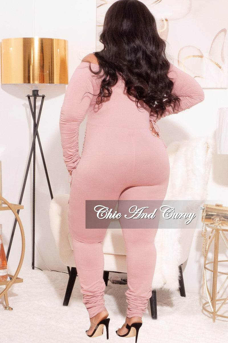 *Final Sale Plus Size Ruched Jumpsuit in Pink