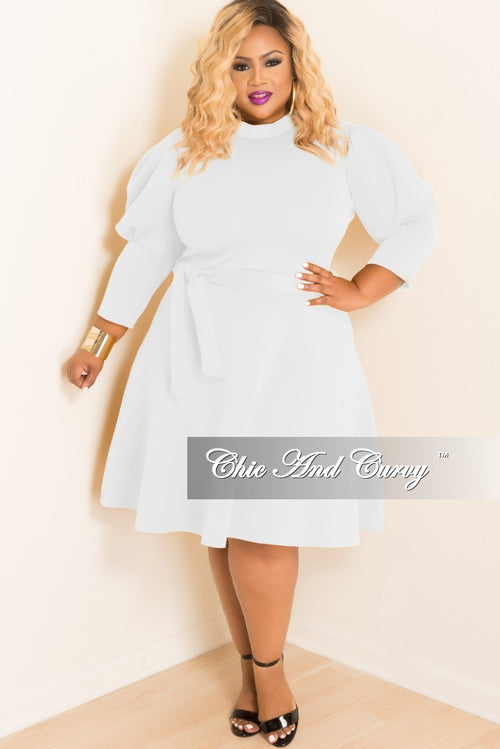 Final Sale Plus Size Skater Dress with Puffy Sleeves and Attached Tie in Ivory Scuba