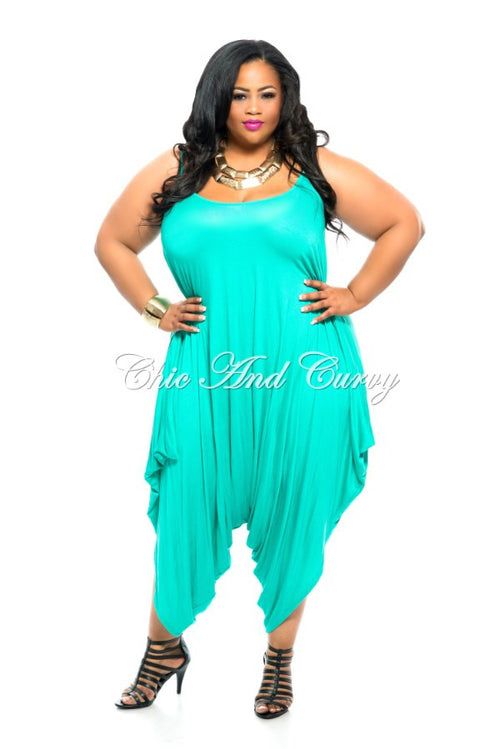 Final Sale Plus Size Harem Tank Jumpsuit in Aqua